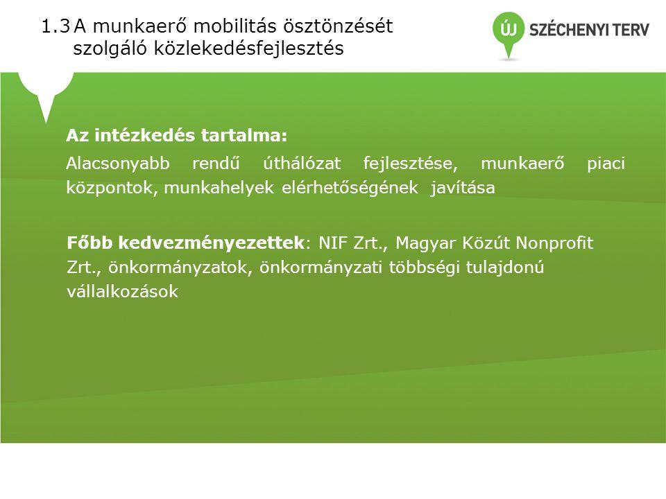 1.3A munkaerő mobilitás ösztönzését szolgáló közlekedésfejlesztés Az intézkedés tartalma: Alacsonyabb rendű úthálózat fejlesztése, munkaerő piaci központok, munkahelyek elérhetőségének javítása Főbb kedvezményezettek: NIF Zrt., Magyar Közút Nonprofit Zrt., önkormányzatok, önkormányzati többségi tulajdonú vállalkozások