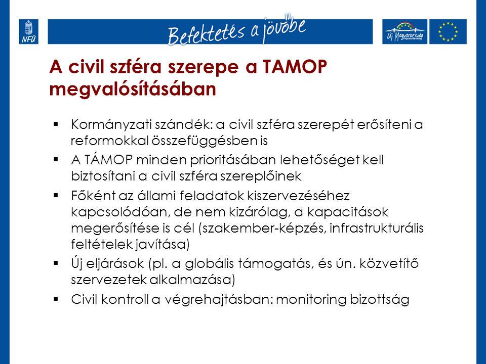 A civil szféra szerepe a TAMOP megvalósításában  Kormányzati szándék: a civil szféra szerepét erősíteni a reformokkal összefüggésben is  A TÁMOP minden prioritásában lehetőséget kell biztosítani a civil szféra szereplőinek  Főként az állami feladatok kiszervezéséhez kapcsolódóan, de nem kizárólag, a kapacitások megerősítése is cél (szakember-képzés, infrastrukturális feltételek javítása)  Új eljárások (pl.