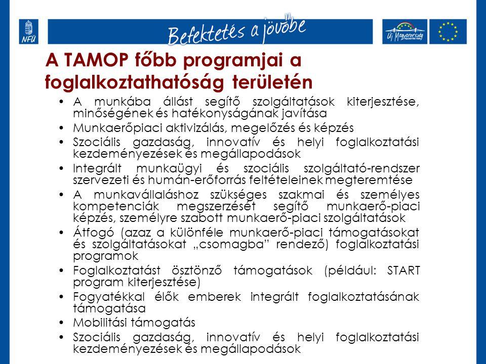 """A TAMOP főbb programjai a foglalkoztathatóság területén A munkába állást segítő szolgáltatások kiterjesztése, minőségének és hatékonyságának javítása Munkaerőpiaci aktivizálás, megelőzés és képzés Szociális gazdaság, innovatív és helyi foglalkoztatási kezdeményezések és megállapodások Integrált munkaügyi és szociális szolgáltató-rendszer szervezeti és humán-erőforrás feltételeinek megteremtése A munkavállaláshoz szükséges szakmai és személyes kompetenciák megszerzését segítő munkaerő-piaci képzés, személyre szabott munkaerő-piaci szolgáltatások Átfogó (azaz a különféle munkaerő-piaci támogatásokat és szolgáltatásokat """"csomagba rendező) foglalkoztatási programok Foglalkoztatást ösztönző támogatások (például: START program kiterjesztése) Fogyatékkal élők emberek integrált foglalkoztatásának támogatása Mobilitási támogatás Szociális gazdaság, innovatív és helyi foglalkoztatási kezdeményezések és megállapodások"""
