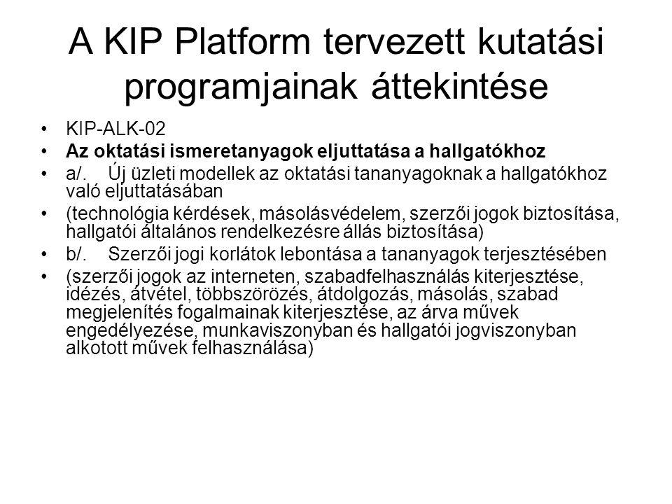A KIP Platform tervezett kutatási programjainak áttekintése KIP-ALK-02 Az oktatási ismeretanyagok eljuttatása a hallgatókhoz a/.Új üzleti modellek az