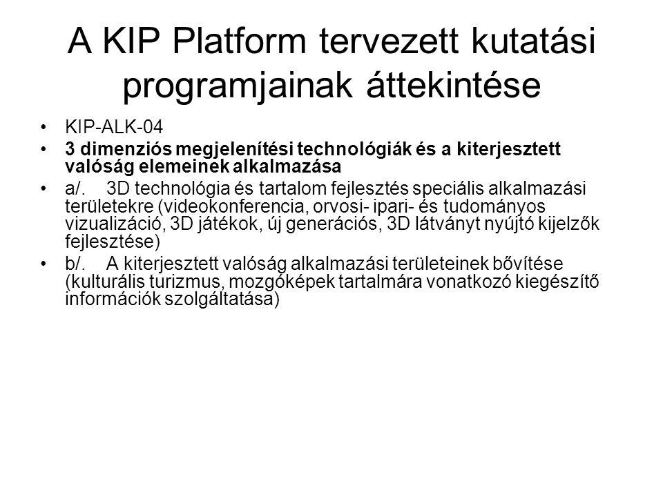 A KIP Platform tervezett kutatási programjainak áttekintése KIP-ALK-04 3 dimenziós megjelenítési technológiák és a kiterjesztett valóság elemeinek alk