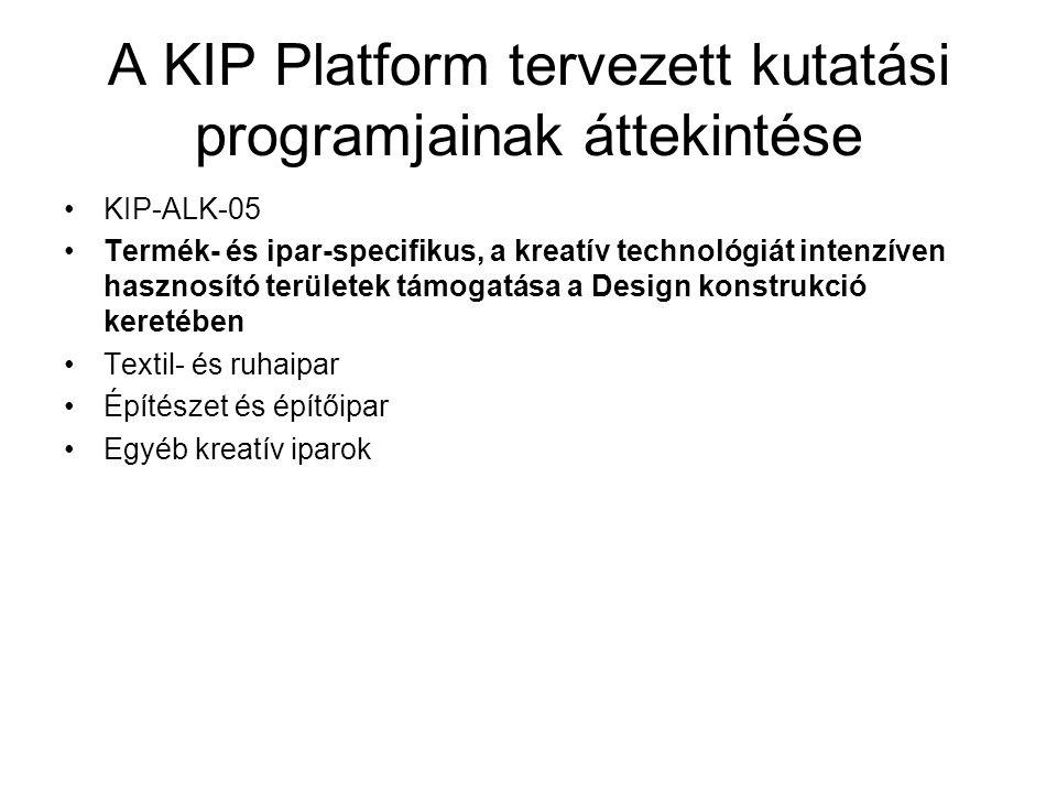 A KIP Platform tervezett kutatási programjainak áttekintése KIP-ALK-05 Termék- és ipar-specifikus, a kreatív technológiát intenzíven hasznosító terüle