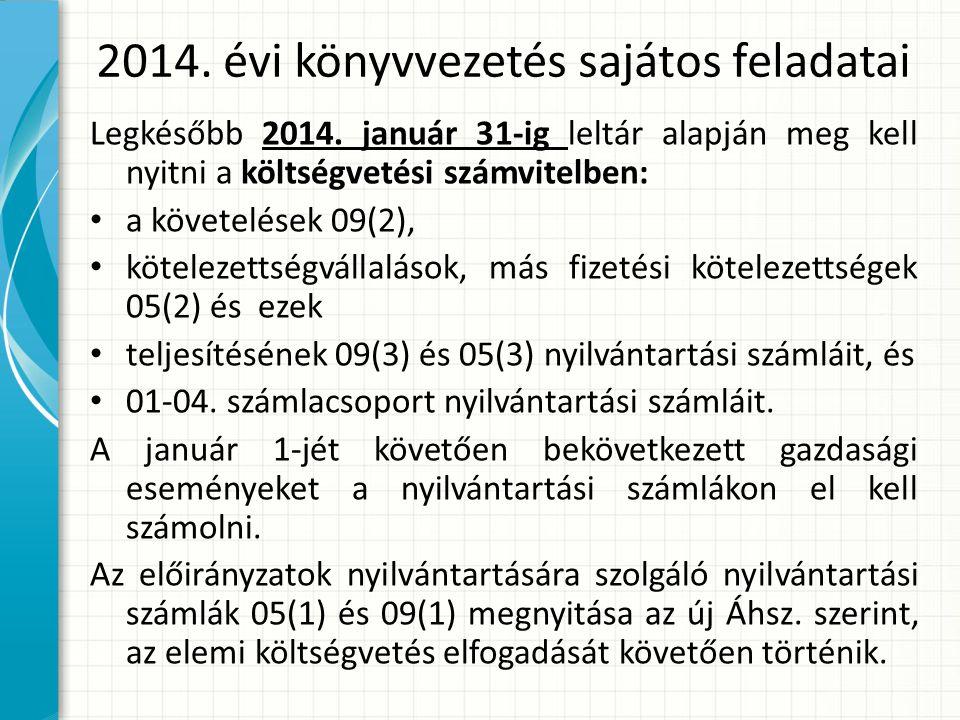 2014.évi könyvvezetés sajátos feladatai Legkésőbb 2014.