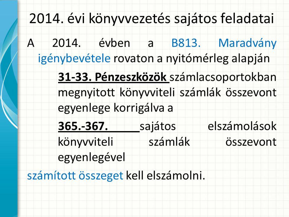 2014.évi könyvvezetés sajátos feladatai A 2014. évben a B813.