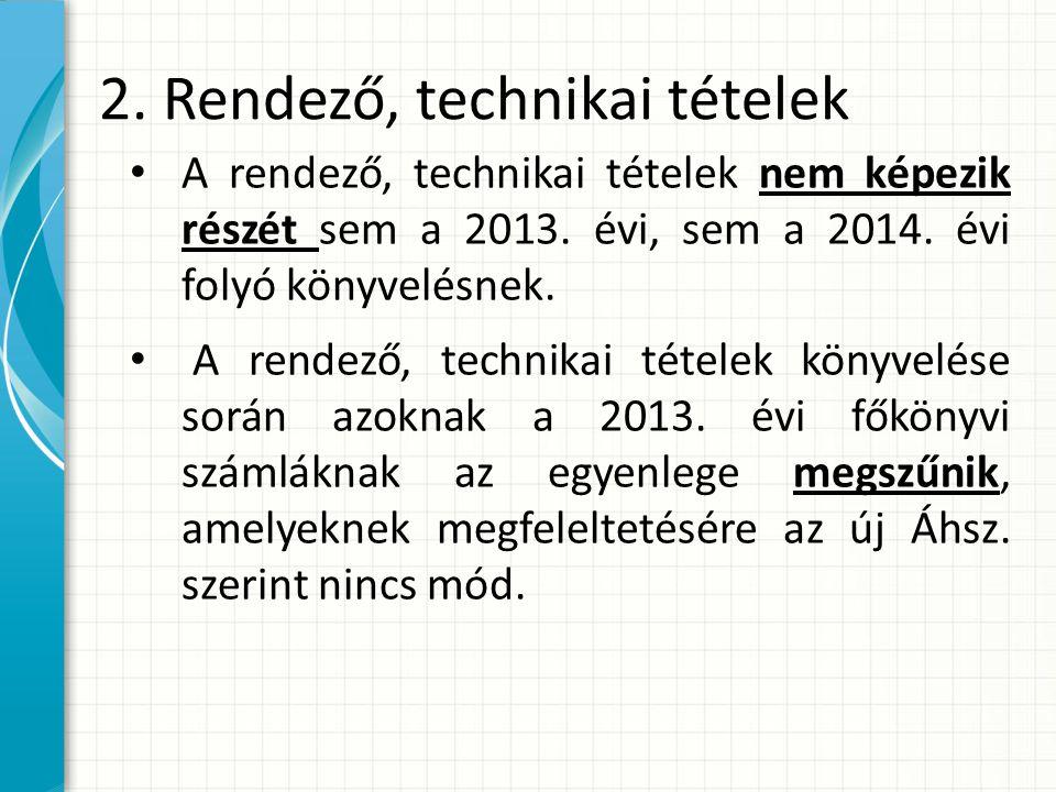 2.Rendező, technikai tételek A rendező, technikai tételek nem képezik részét sem a 2013.