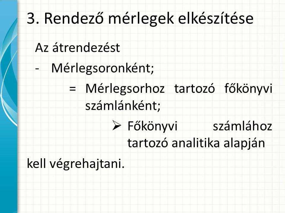 3. Rendező mérlegek elkészítése Az átrendezést -Mérlegsoronként; =Mérlegsorhoz tartozó főkönyvi számlánként;  Főkönyvi számlához tartozó analitika al