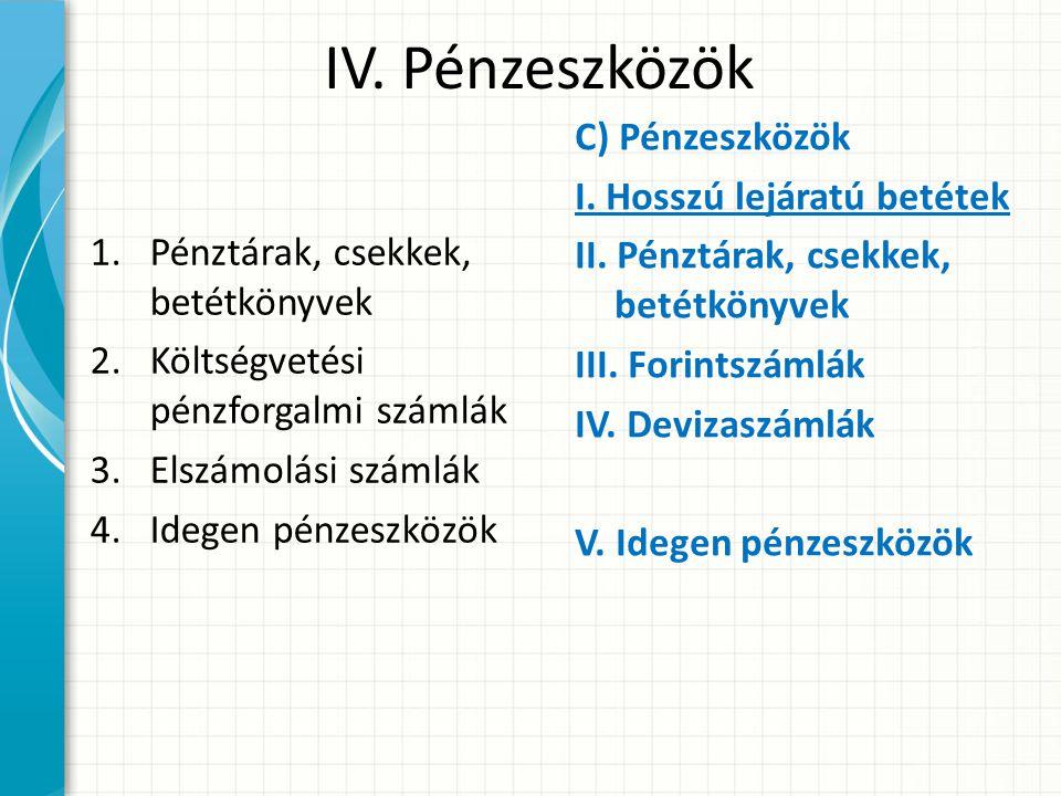 IV. Pénzeszközök 1.Pénztárak, csekkek, betétkönyvek 2.Költségvetési pénzforgalmi számlák 3.Elszámolási számlák 4.Idegen pénzeszközök C) Pénzeszközök I