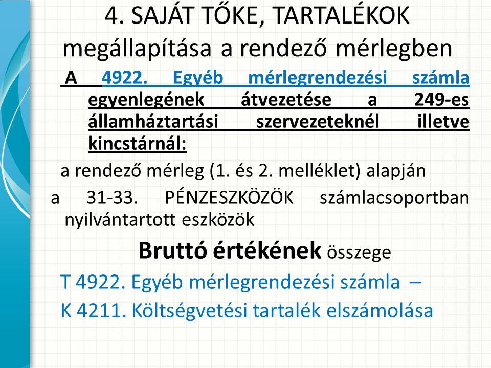 4.SAJÁT TŐKE, TARTALÉKOK megállapítása a rendező mérlegben A 4922.