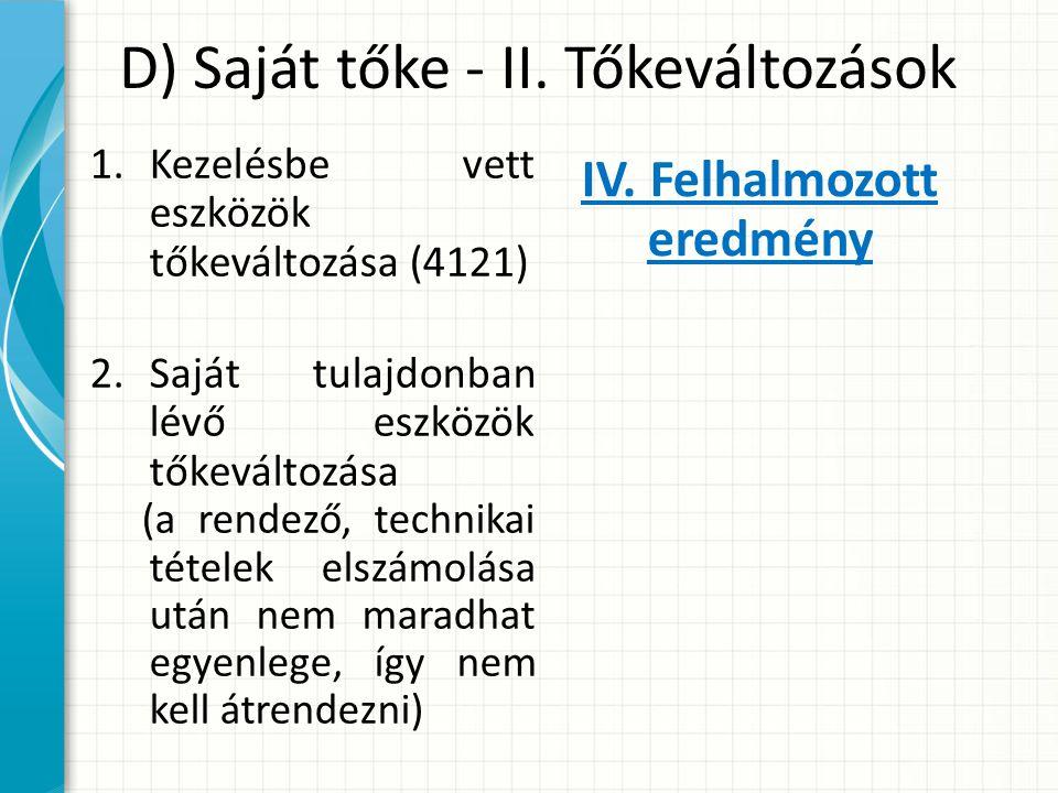 D) Saját tőke - II.