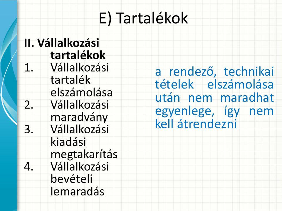 E) Tartalékok II.
