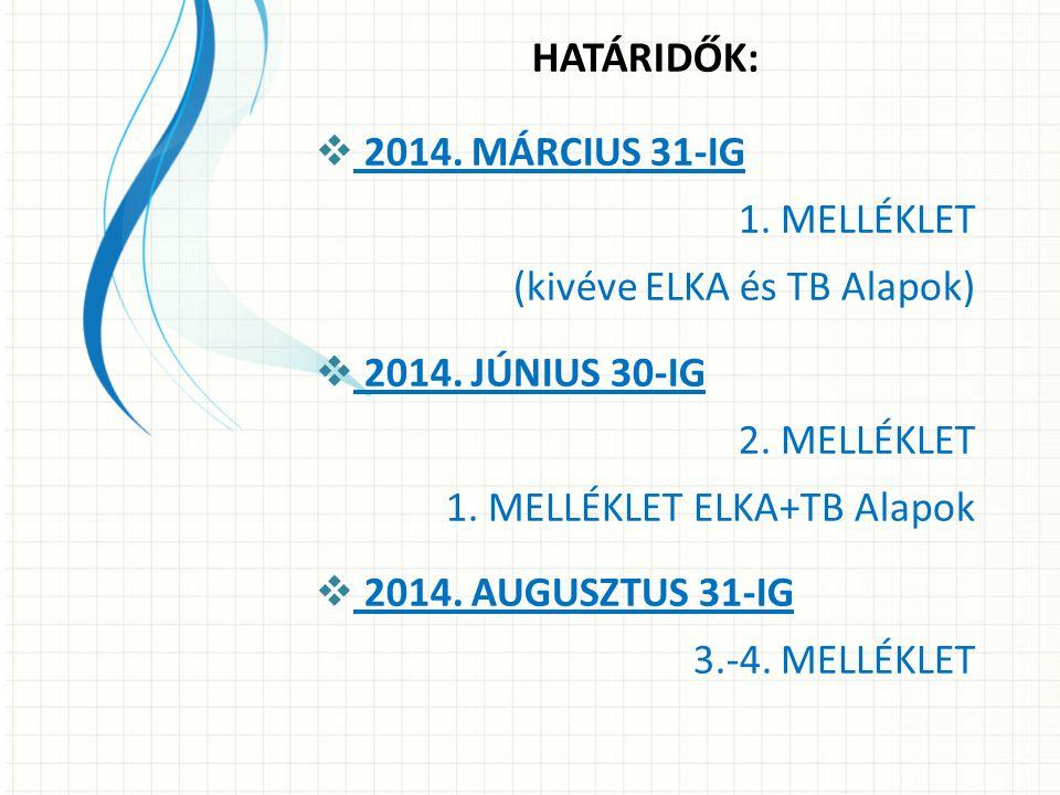 HATÁRIDŐK:  2014.MÁRCIUS 31-IG 1. MELLÉKLET (kivéve ELKA és TB Alapok)  2014.