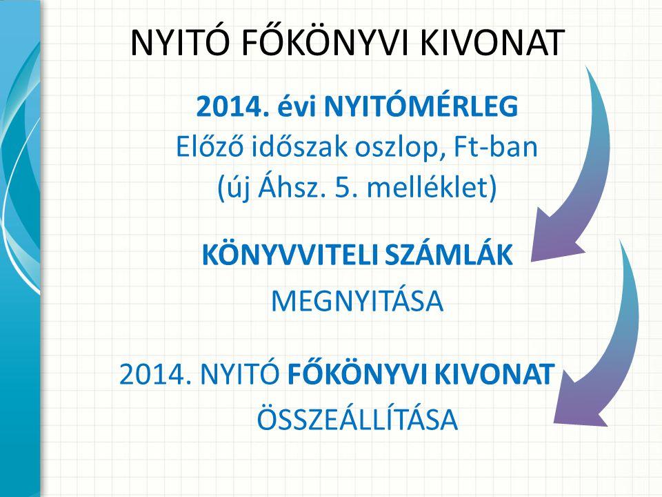 NYITÓ FŐKÖNYVI KIVONAT 2014.évi NYITÓMÉRLEG Előző időszak oszlop, Ft-ban (új Áhsz.
