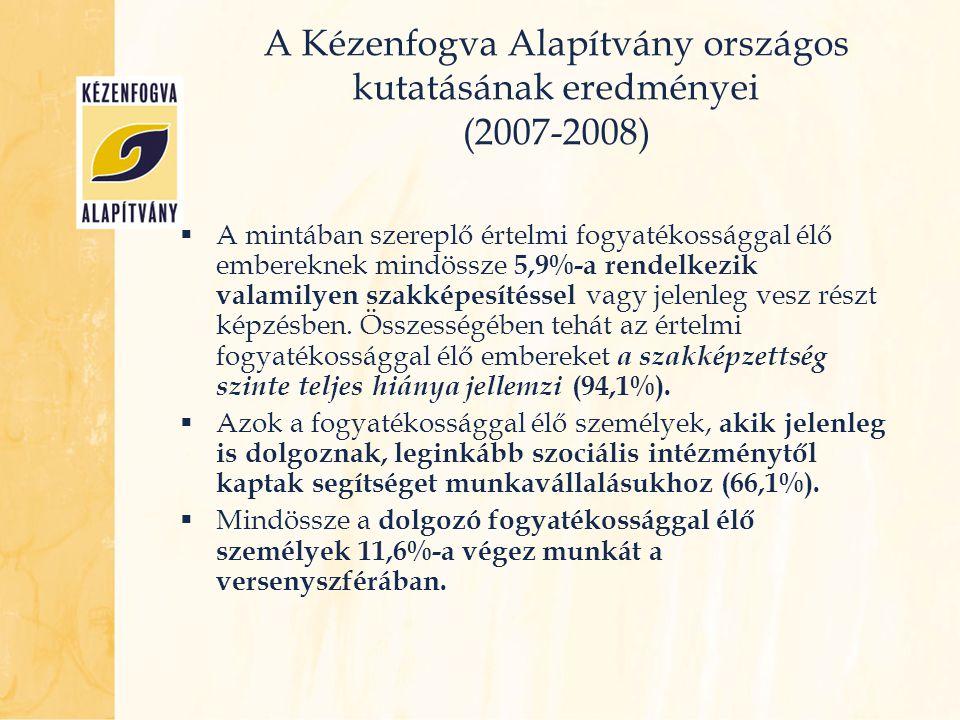 A Kézenfogva Alapítvány országos kutatásának eredményei (2007-2008)  A mintában szereplő értelmi fogyatékossággal élő embereknek mindössze 5,9%-a ren