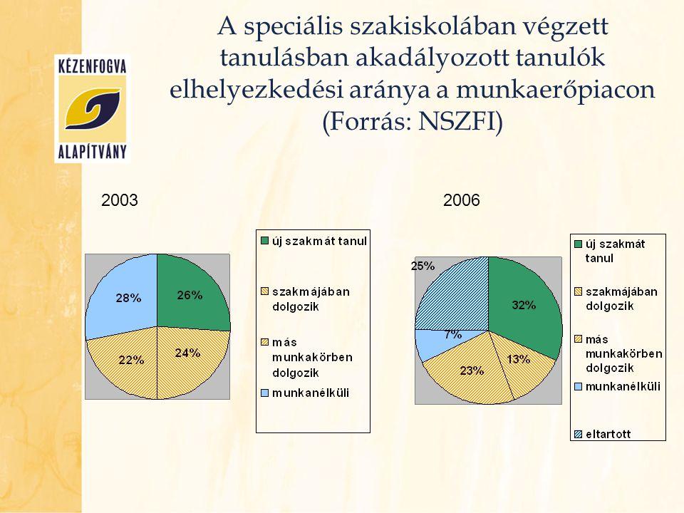 A speciális szakiskolában végzett tanulásban akadályozott tanulók elhelyezkedési aránya a munkaerőpiacon (Forrás: NSZFI) 20032006