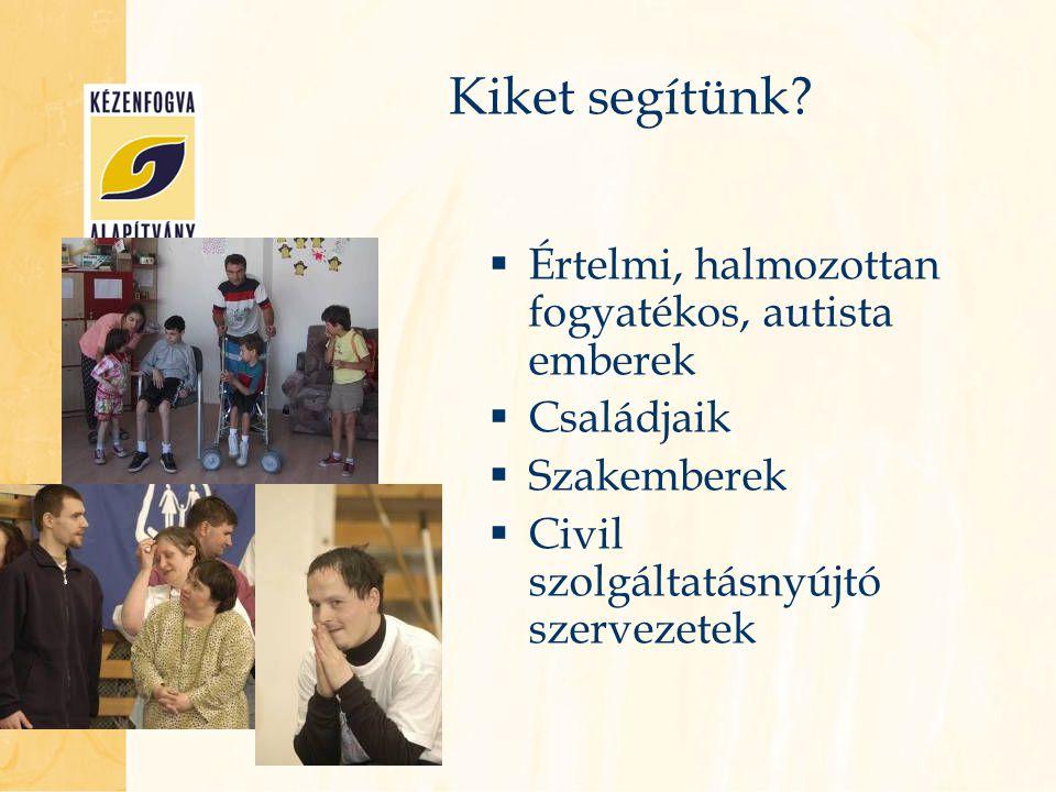 Kiket segítünk?  Értelmi, halmozottan fogyatékos, autista emberek  Családjaik  Szakemberek  Civil szolgáltatásnyújtó szervezetek