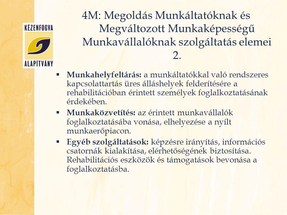  Munkahelyfeltárás: a munkáltatókkal való rendszeres kapcsolattartás üres álláshelyek felderítésére a rehabilitációban érintett személyek foglalkozta