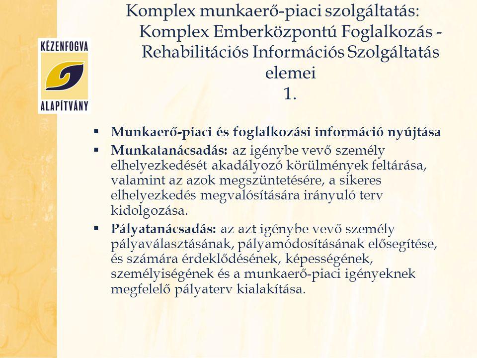 Komplex munkaerő-piaci szolgáltatás: Komplex Emberközpontú Foglalkozás - Rehabilitációs Információs Szolgáltatás elemei 1.  Munkaerő-piaci és foglalk
