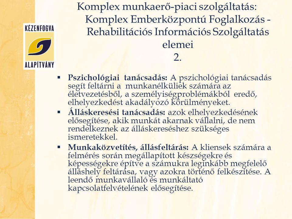  Pszichológiai tanácsadás: A pszichológiai tanácsadás segít feltárni a munkanélküliek számára az életvezetésből, a személyiségproblémákból eredő, elh