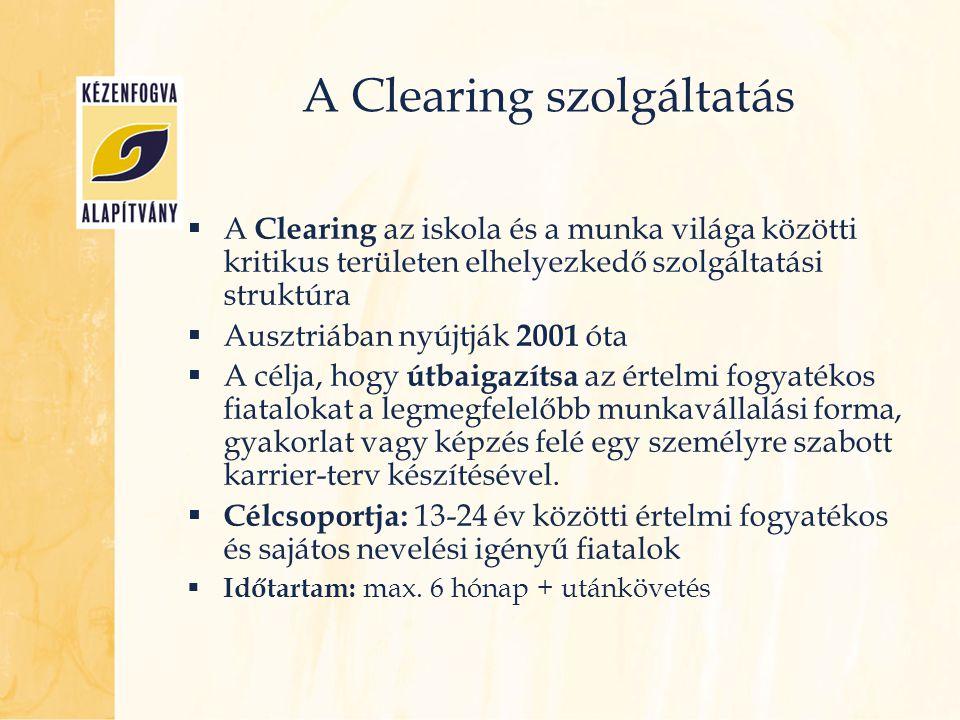 A Clearing szolgáltatás  A Clearing az iskola és a munka világa közötti kritikus területen elhelyezkedő szolgáltatási struktúra  Ausztriában nyújtjá