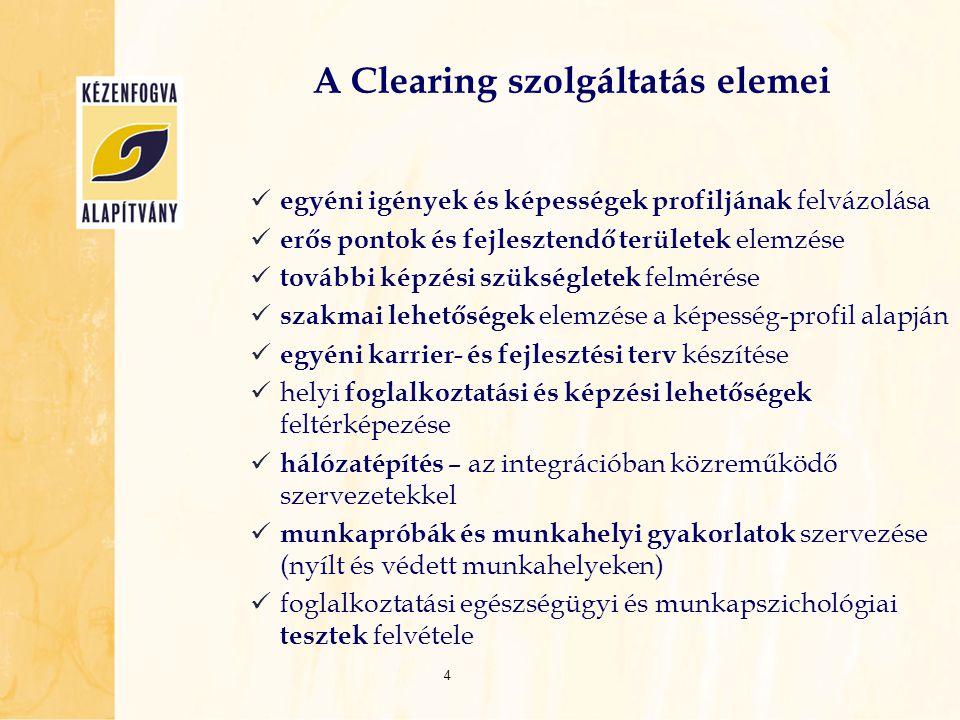 A Clearing szolgáltatás elemei egyéni igények és képességek profiljának felvázolása erős pontok és fejlesztendő területek elemzése további képzési szü