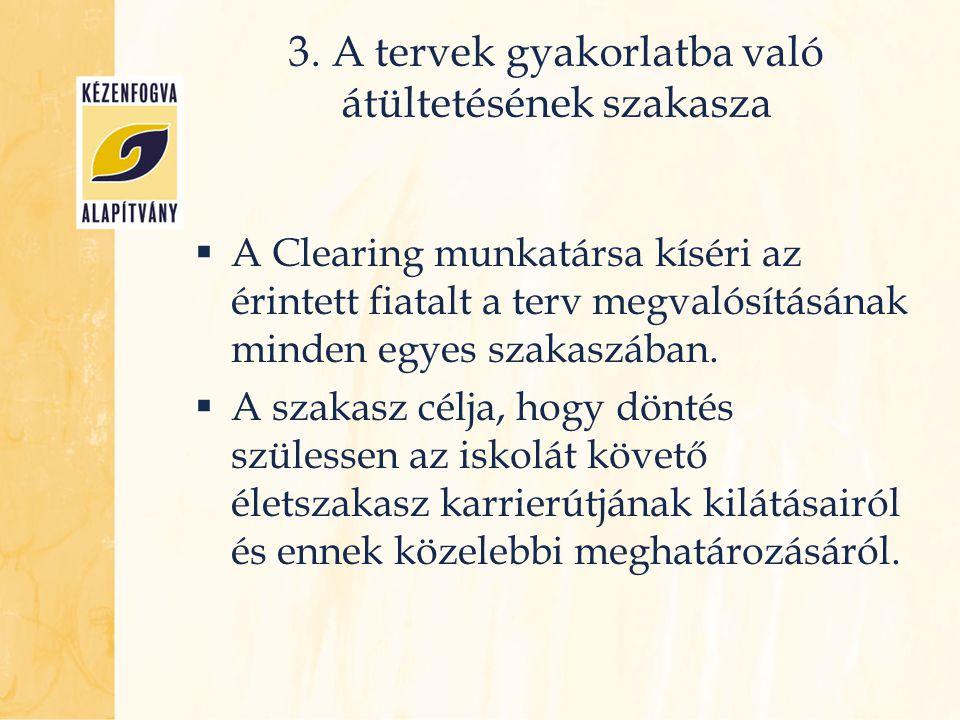 3. A tervek gyakorlatba való átültetésének szakasza  A Clearing munkatársa kíséri az érintett fiatalt a terv megvalósításának minden egyes szakaszába