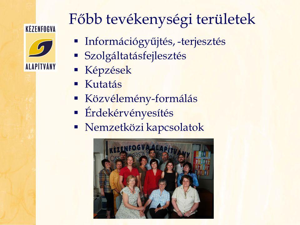 Főbb tevékenységi területek  Információgyűjtés, -terjesztés  Szolgáltatásfejlesztés  Képzések  Kutatás  Közvélemény-formálás  Érdekérvényesítés
