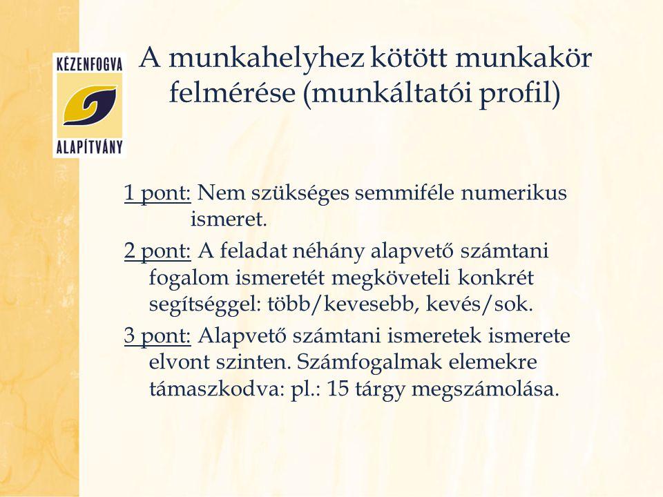 A munkahelyhez kötött munkakör felmérése (munkáltatói profil) 1 pont: Nem szükséges semmiféle numerikus ismeret. 2 pont: A feladat néhány alapvető szá