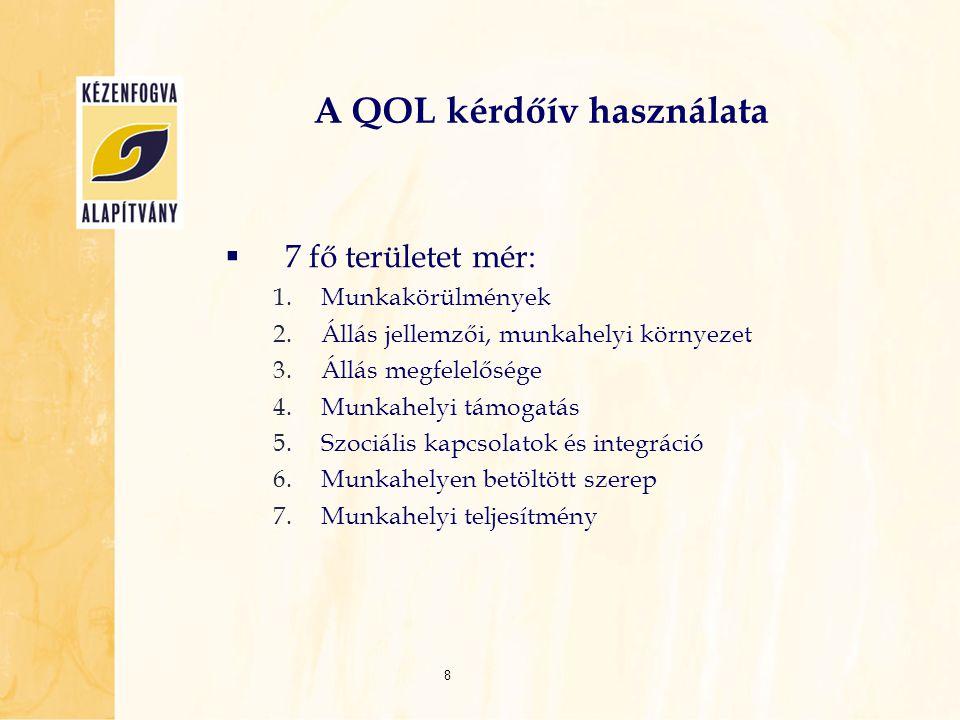 A QOL kérdőív használata  7 fő területet mér: 1.Munkakörülmények 2.Állás jellemzői, munkahelyi környezet 3.Állás megfelelősége 4.Munkahelyi támogatás