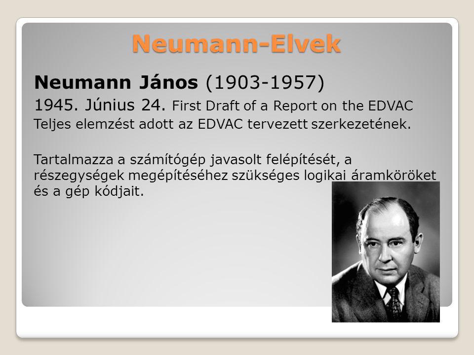 Neumann-Elvek Neumann János (1903-1957) 1945. Június 24. First Draft of a Report on the EDVAC Teljes elemzést adott az EDVAC tervezett szerkezetének.