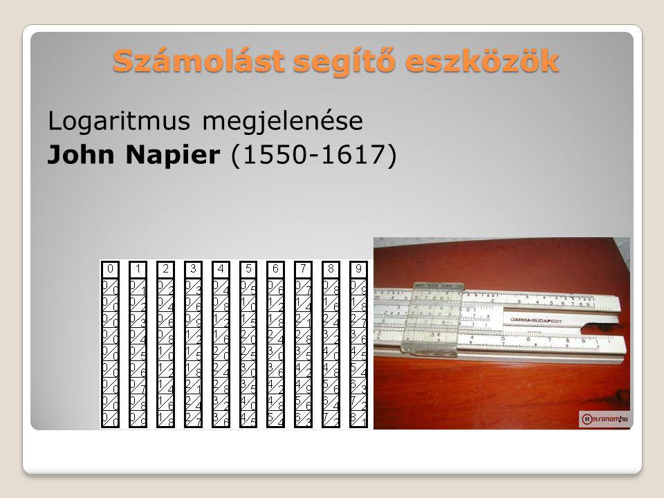 Számolást segítő eszközök Logaritmus megjelenése John Napier (1550-1617)