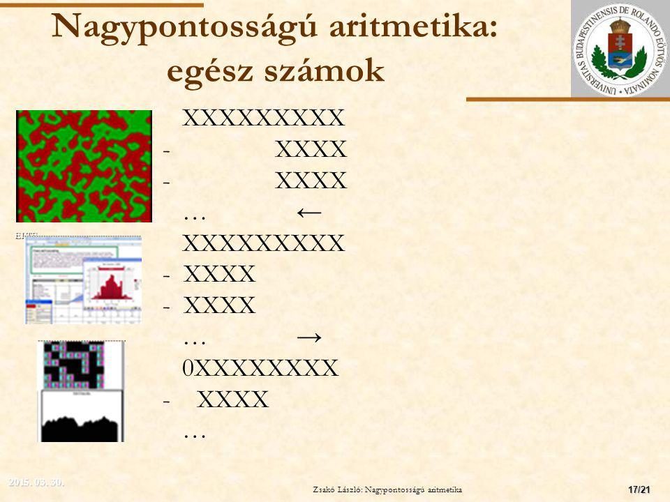 ELTE Nagypontosságú aritmetika: egész számok XXXXXXXXX - XXXX …← XXXXXXXXX - XXXX …→ 0XXXXXXXX - XXXX … 2015.