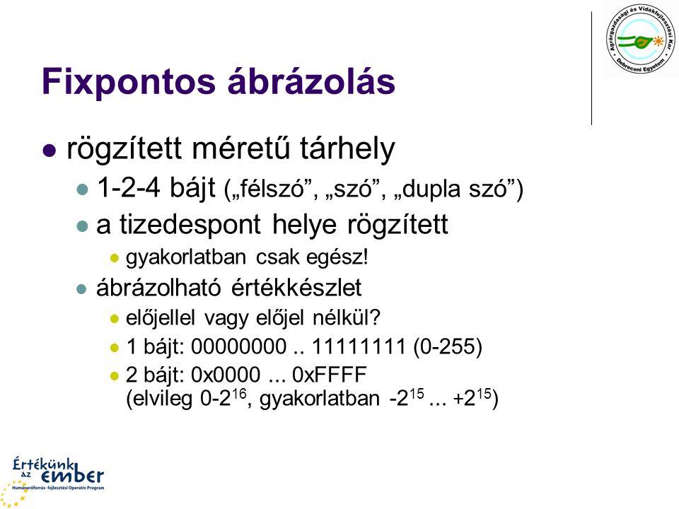 """Fixpontos ábrázolás rögzített méretű tárhely 1-2-4 bájt (""""félszó"""", """"szó"""", """"dupla szó"""") a tizedespont helye rögzített gyakorlatban csak egész! ábrázolh"""