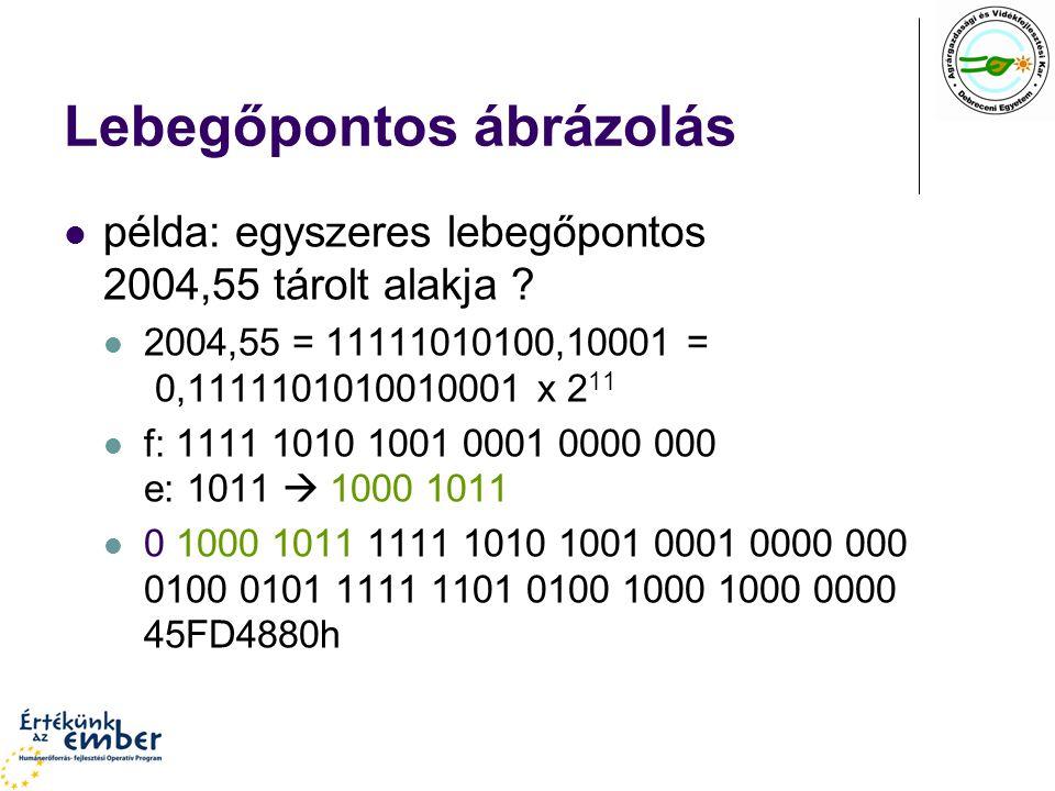 Lebegőpontos ábrázolás példa: egyszeres lebegőpontos 2004,55 tárolt alakja ? 2004,55 = 11111010100,10001 = 0,1111101010010001 x 2 11 f: 1111 1010 1001