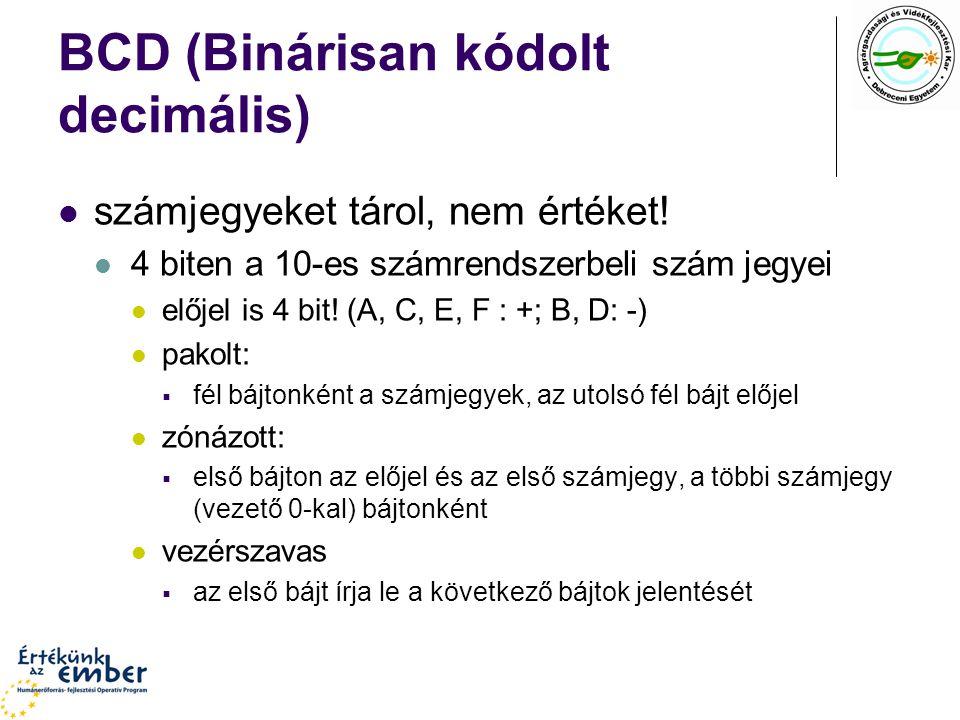 BCD (Binárisan kódolt decimális) számjegyeket tárol, nem értéket! 4 biten a 10-es számrendszerbeli szám jegyei előjel is 4 bit! (A, C, E, F : +; B, D: