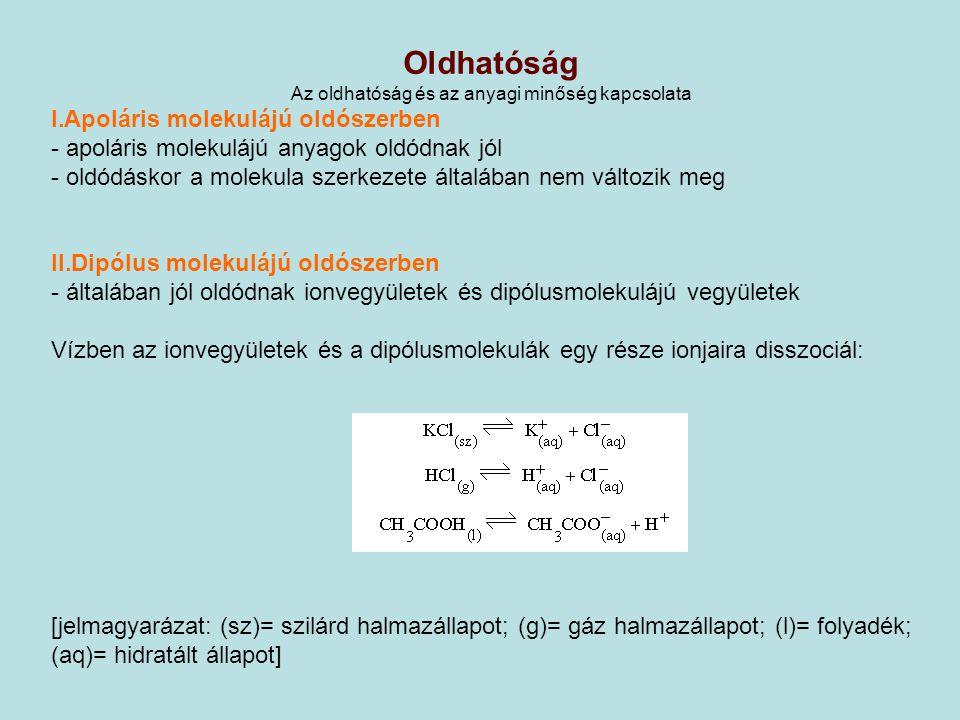 Az oldáshő, az oldhatóság összefüggése endoterm és exoterm oldási folyamatok : oldása – felmelegedés – exoterm oldódás oldása – lehűlés – endoterm oldódás, mértékegység: előjele: + endoterm oldódás - exoterm oldódás Oldáshő fogalma: az a hőmennyiség, amely akkor keletkezik vagy nyelődik el, ha az anyag 1 mol anyagmennyiségéből ugyanolyan hőmérsékletű híg oldatot készítünk.