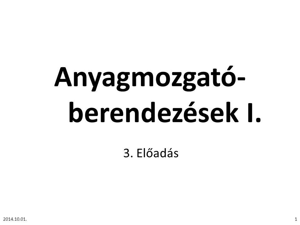 Anyagmozgató- berendezések I. 3. Előadás 2014.10.01.1