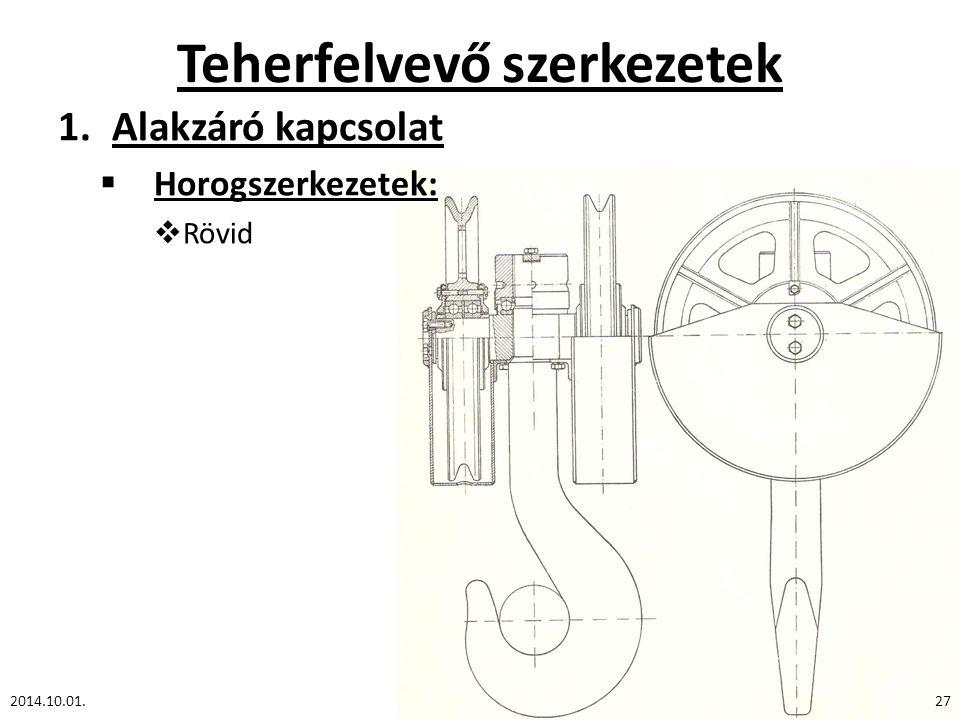 Teherfelvevő szerkezetek 1.Alakzáró kapcsolat  Horogszerkezetek:  Rövid 2014.10.01.27