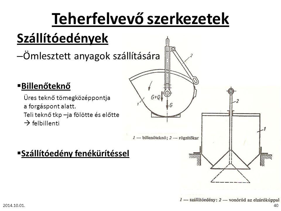 Teherfelvevő szerkezetek Szállítóedények – Ömlesztett anyagok szállítására  Billenőteknő  Szállítóedény fenékürítéssel 2014.10.01.40 Üres teknő tömegközéppontja a forgáspont alatt.