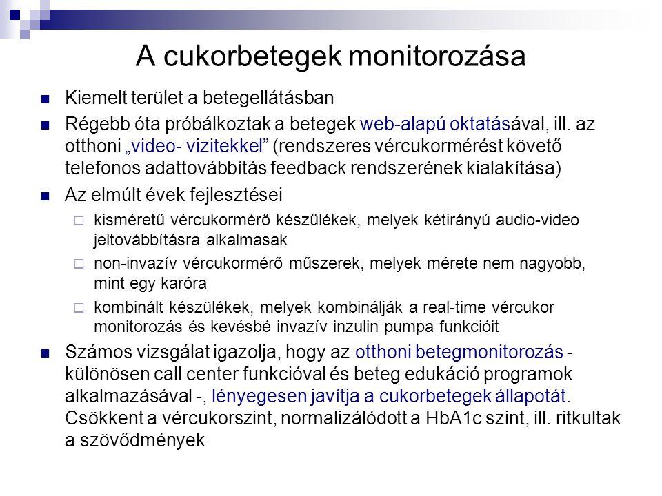 """A cukorbetegek monitorozása Kiemelt terület a betegellátásban Régebb óta próbálkoztak a betegek web-alapú oktatásával, ill. az otthoni """"video- vizitek"""
