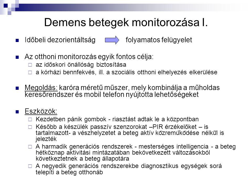 Demens betegek monitorozása I. Időbeli dezorientáltság folyamatos felügyelet Az otthoni monitorozás egyik fontos célja:  az időskori önállóság biztos