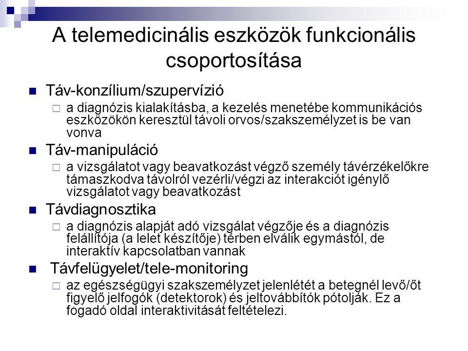 A telemedicinális eszközök funkcionális csoportosítása Táv-konzílium/szupervízió  a diagnózis kialakításba, a kezelés menetébe kommunikációs eszközök