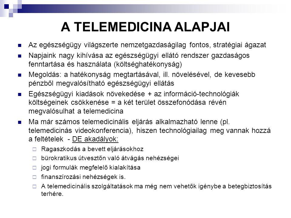 A módszer bevezetésével kapcsolatos szempontok Folyamatosan változó igények és lehetőségek a betegellátásban Cél: olyan alkalmazások bevezetése, melyek  megfelelnek az egészségügyi szereplők elvárásainak  felhasználják az informatika nyújtotta lehetőségeket Telemedicina bevezetéséhez hozzájárult:  az egészségügyi informatika és a telekommunikáció együttes alkalmazása  az egészségügyben bekövetkezett paradigmaváltás