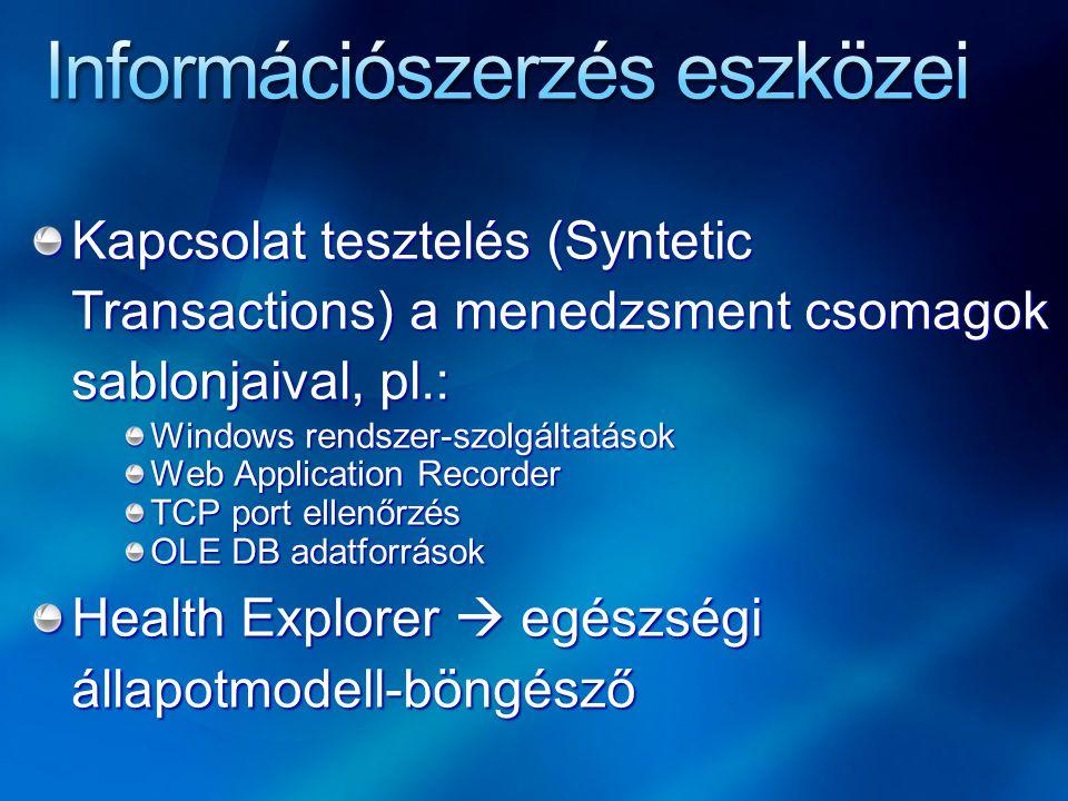 Kapcsolat tesztelés (Syntetic Transactions) a menedzsment csomagok sablonjaival, pl.: Windows rendszer-szolgáltatások Web Application Recorder TCP por