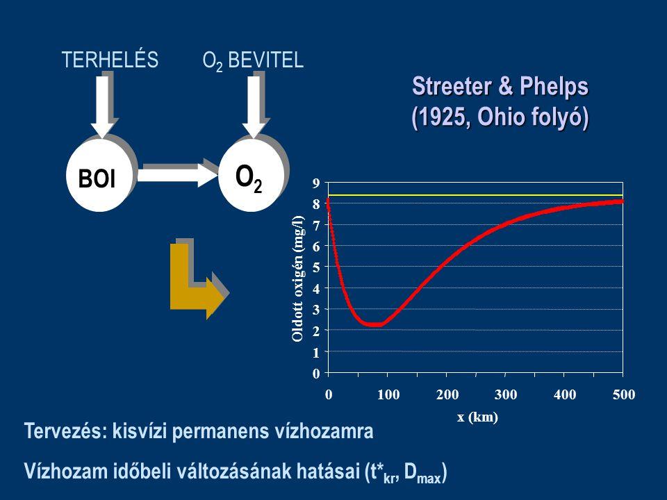 O 2 BEVITEL 0 1 2 3 4 5 6 7 8 9 0100200300400500 x (km) Oldott oxigén (mg/l) Streeter & Phelps (1925, Ohio folyó) BOI O2O2 TERHELÉS Tervezés: kisvízi