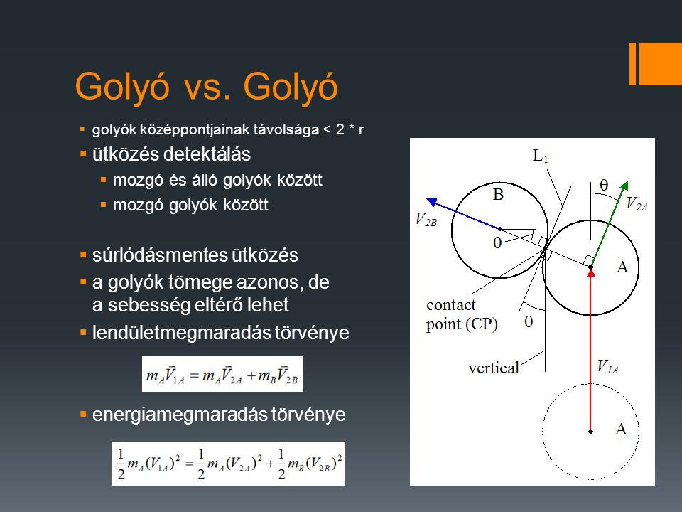 Golyó vs. Golyó  golyók középpontjainak távolsága < 2 * r  ütközés detektálás  mozgó és álló golyók között  mozgó golyók között  súrlódásmentes ü