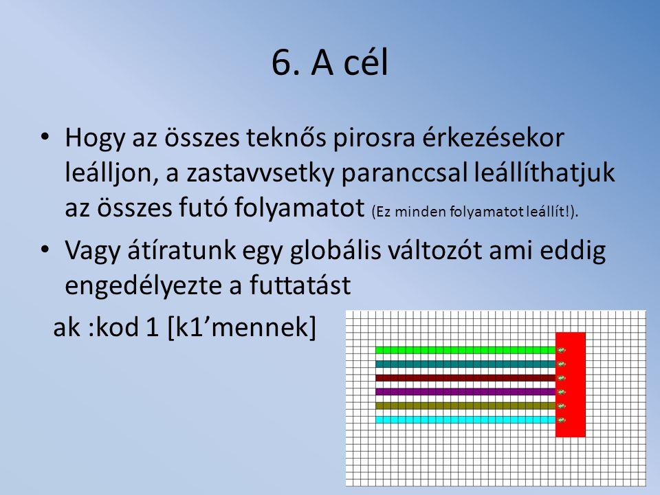 6. A cél Hogy az összes teknős pirosra érkezésekor leálljon, a zastavvsetky paranccsal leállíthatjuk az összes futó folyamatot (Ez minden folyamatot l