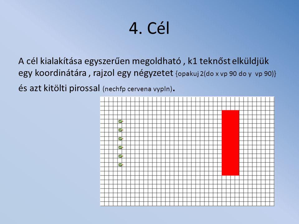 4. Cél A cél kialakítása egyszerűen megoldható, k1 teknőst elküldjük egy koordinátára, rajzol egy négyzetet {opakuj 2(do x vp 90 do y vp 90)} és azt k