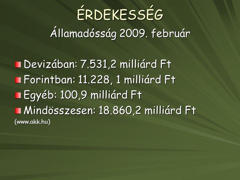 ÉRDEKESSÉG Államadósság 2009. február Devizában: 7.531,2 milliárd Ft Forintban: 11.228, 1 milliárd Ft Egyéb: 100,9 milliárd Ft Mindösszesen: 18.860,2