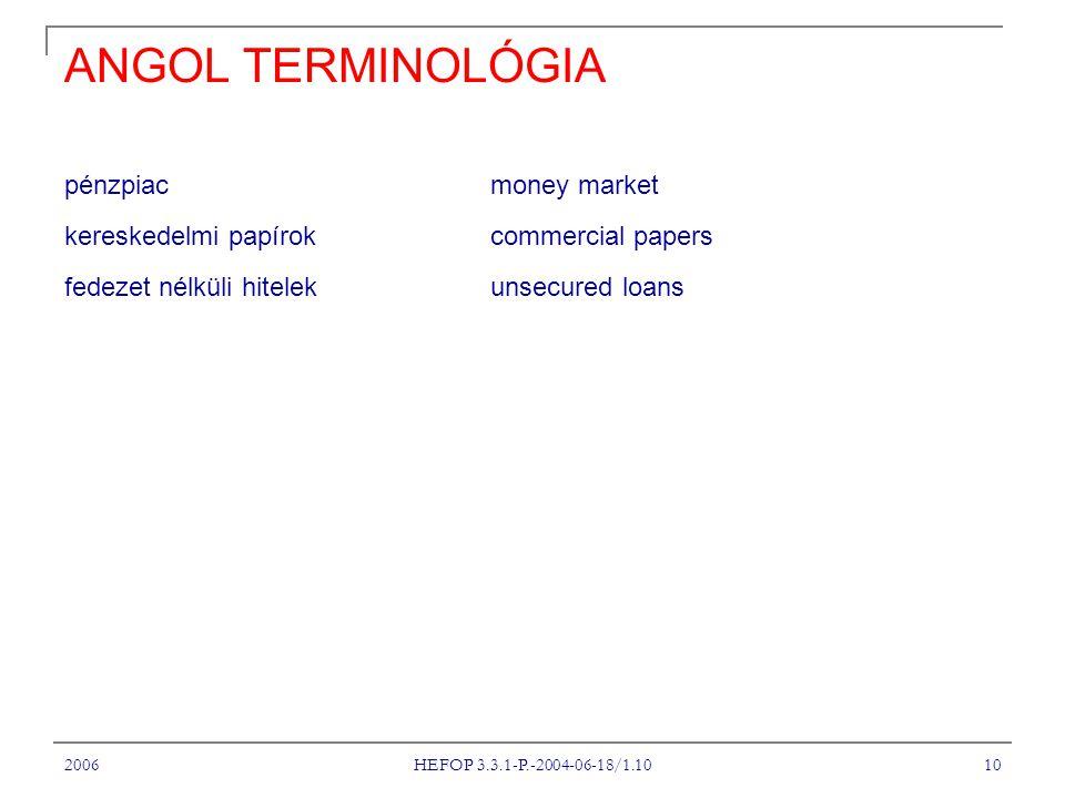 2006 HEFOP 3.3.1-P.-2004-06-18/1.10 10 ANGOL TERMINOLÓGIA pénzpiac money market kereskedelmi papírok commercial papers fedezet nélküli hitelek unsecured loans