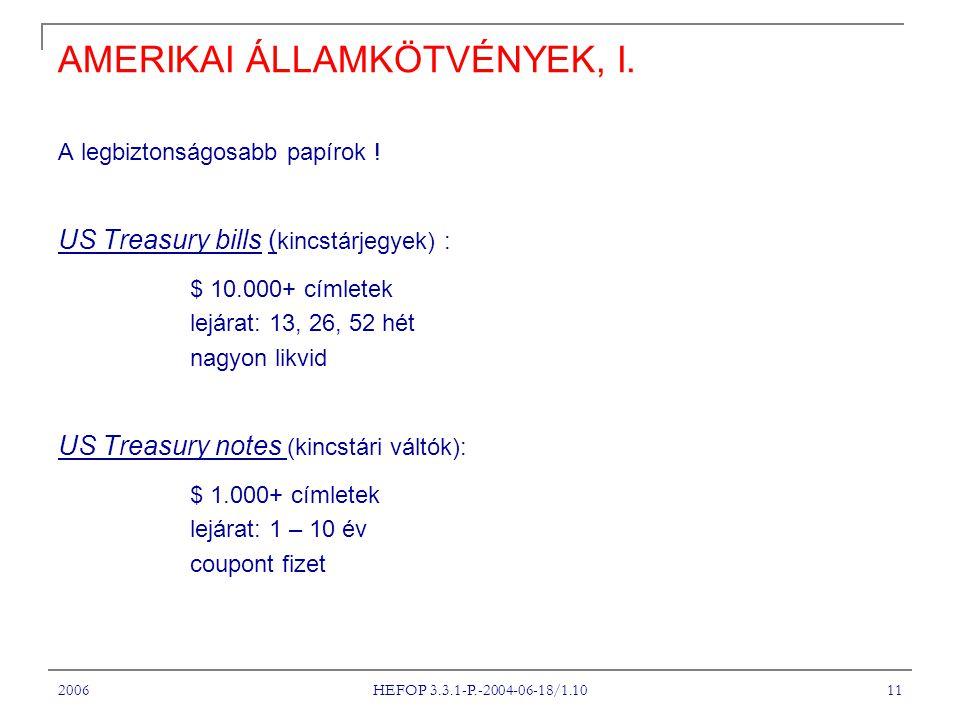 2006 HEFOP 3.3.1-P.-2004-06-18/1.10 11 AMERIKAI ÁLLAMKÖTVÉNYEK, I.